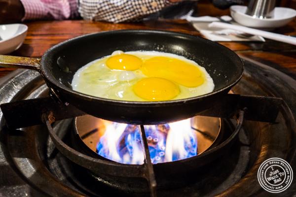 Fried eggs at Sik Gaek in Woodside, Queens