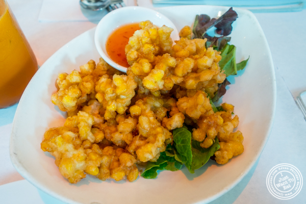 Corn fritters at Yum Yum Too in Hell's Kitchen
