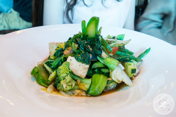 Sautéed vegetables with tofu at Yum Yum Too in Hell's Kitchen