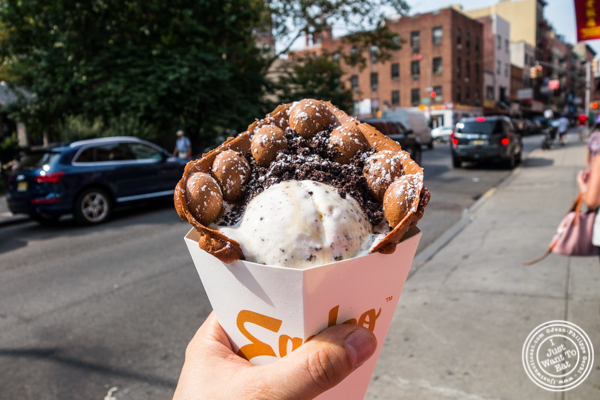 chocolate egg waffle with cookies and cream ice cream at  Eggloo in Chinatown, NYC