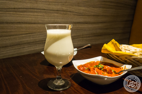 Sweet lassi at Benares in TriBeCa