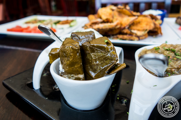 Stuffed grape leaves at Greek Town in Hoboken, NJ