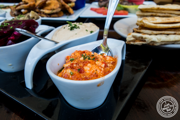 Spicy feta dip at Greek Town in Hoboken, NJ