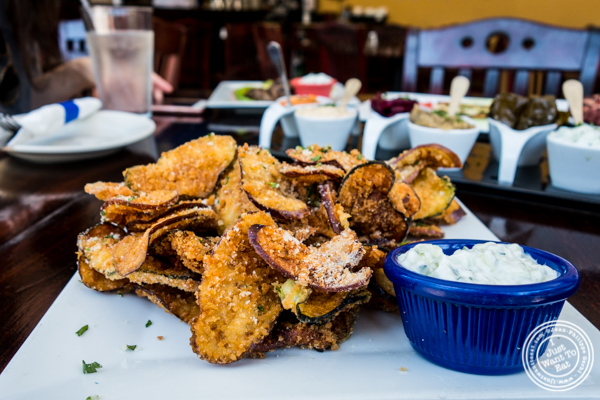 Eggplant and zucchini chips at Greek Town in Hoboken, NJ