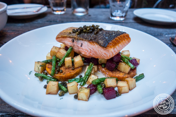 Pan seared salmon at The Rabbithole in Brooklyn, NY