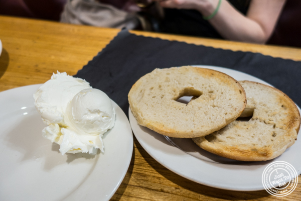 Bagel and cream cheese at Sarge's deli in NYC
