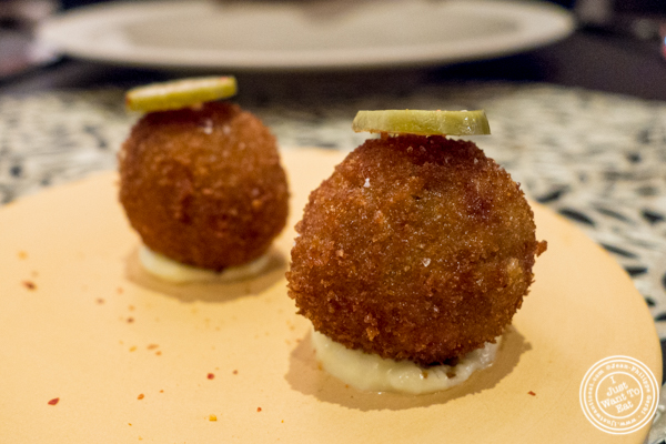 Paella balls at Ortzi at the Luma Hotel in NYC