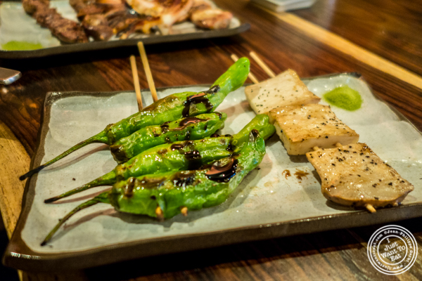 Vegetarian yakitori at Amami in Greenpoint, Brooklyn