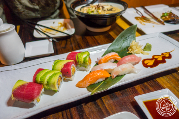 Roll and sushi sampler at Amami in Greenpoint, Brooklyn