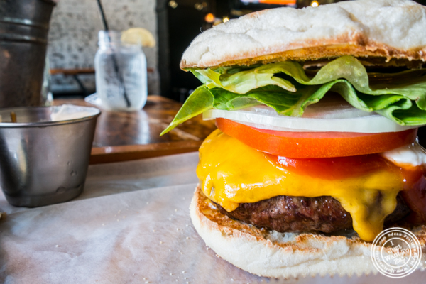 Signature burger at Green Rock Tap & Grill in Hoboken, NJ