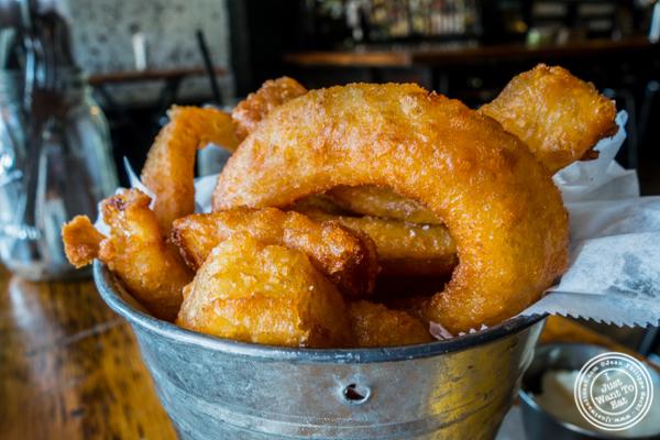 Onion rings at Green Rock Tap & Grill in Hoboken, NJ