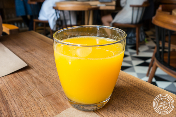 Fresh squeeze orange juice at L'Amico in Chelsea, NYC, NY