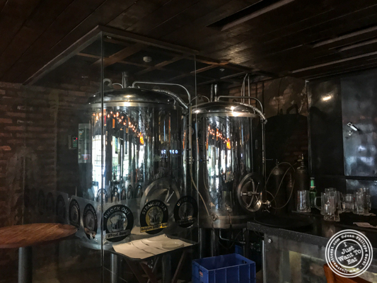 Beer fermenters at Soi 7 Pub & Brewery at The Cyber Hub in Gurgaon, India