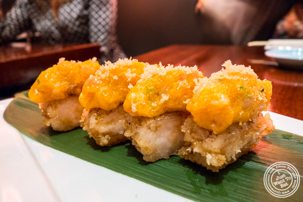 Crispy rice with yellowtail tartare at Koi Bryant Park
