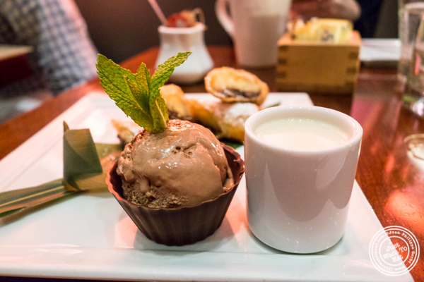 Chocolate ice cream and banana anglaise at Koi Bryant Park