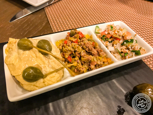 Spreads and tabouli at Bistro 72 in Riverhead, Long Island