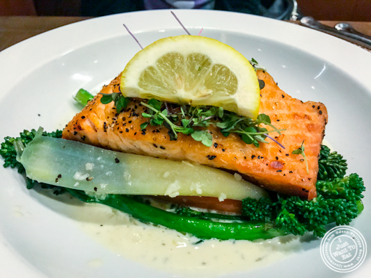 Pan seared salmon at Bistro 72 in Riverhead, Long Island