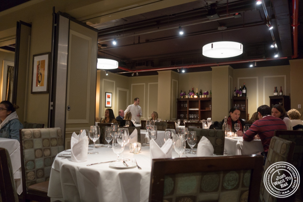 Dining room of Davio's Italian Steakhouse in NYC, NY