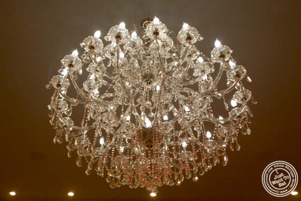 Crystal chandelier at Chimichurri Grill East, NYC, NY