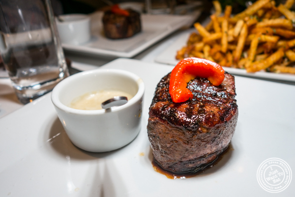 Filet mignon with blue cheese sauce at Chimichurri Grill West in Hell's Kitchen