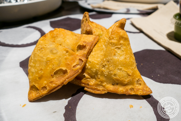 Vegetable samosas at Indikitch in NYC, NY