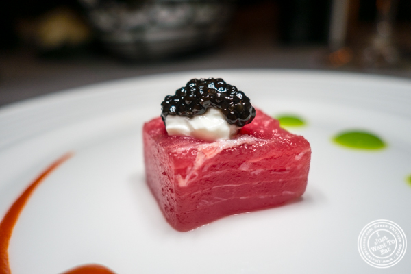 Sushi grade tuna with caviar at Paname, French restaurant, in NYC, NY