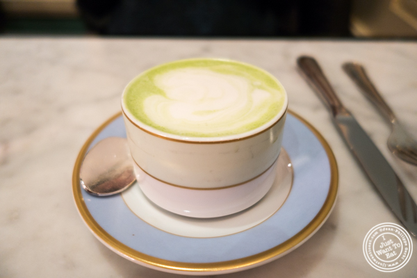 Matcha latte at Ladurée in Soho, NYC, NY