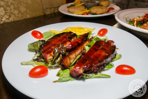 Vegetarian spare ribs with BBQ sauce at Alpha Fusion in NYC, NY