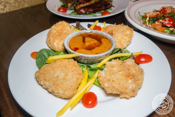Vegetarian panko chicken with Thai chili peanut sauce at Alpha Fusion in NYC, NY