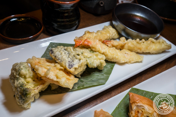 Shrimp and vegetables tempura at Haru Sushi in Times Square, NYC, NY