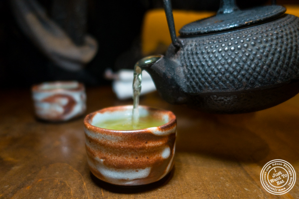 Green tea at Haru Sushi in Times Square, NYC, NY