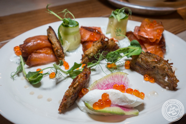 House cured and smoked salmon at Hudson Hall in Jersey City, NJ