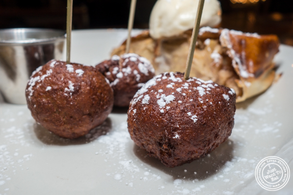 Crispy bread pudding balls at Hudson Hall in Jersey City, NJ