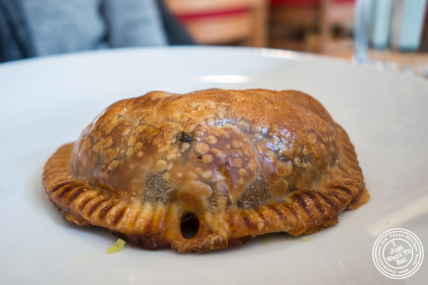 Mushroom empanada at Empanada Mama in Hell's Kitchen