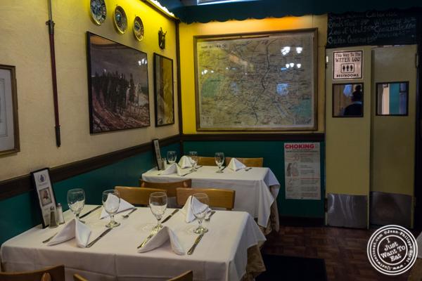 Dining room at Chez Napoleon in NYC, NY