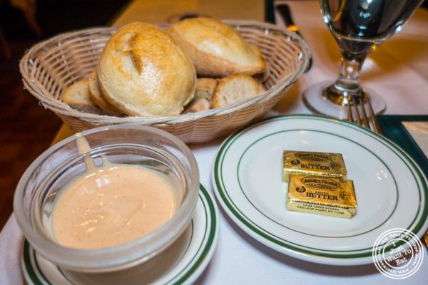 Bread basket at Chez Napoleon in NYC, NY