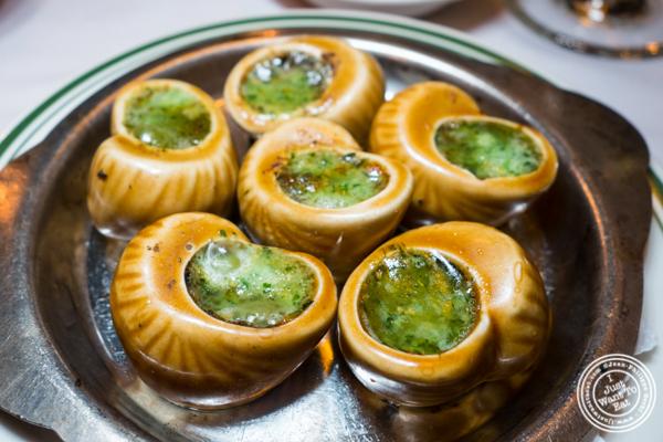 Escargots at Chez Napoleon in NYC, NY