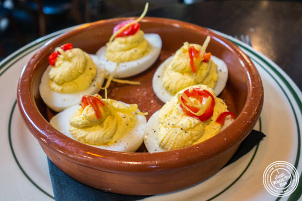 Deviled eggs at Antique Bar & Bakery in Hoboken, NJ
