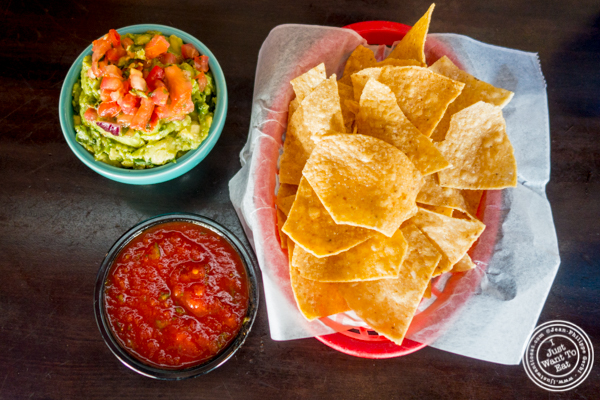 Guacamole, salsa and chips at El Original in Hell's Kitchen, NYC