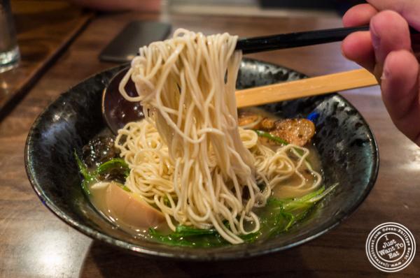 Straight thin noodles at Ramen-Ya Samurai Edition in the West Village