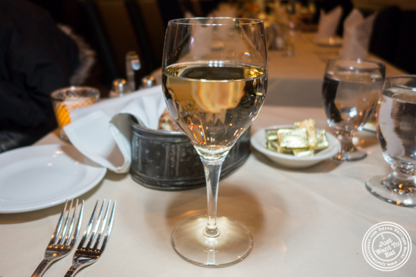 Glass of La Cote du Chasselat wine at Mont Blanc 52 in NYC, NY