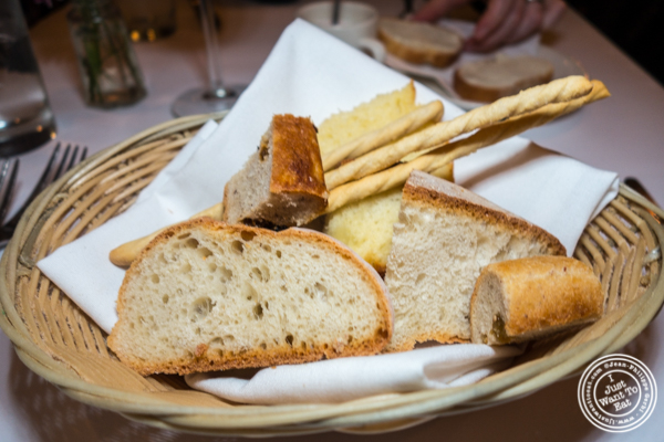 Bread basket at Basta Pasta in Chelsea, NYC