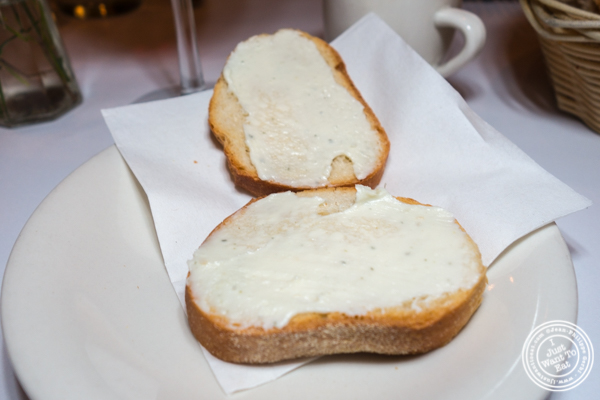 Gorgonzola and mascarpone toasts at Basta Pasta in Chelsea, NYC