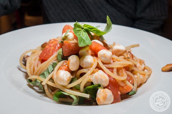 Spaghetti con mozzarella, pomodoro e funghi at Basta Pasta in Chelsea, NYC