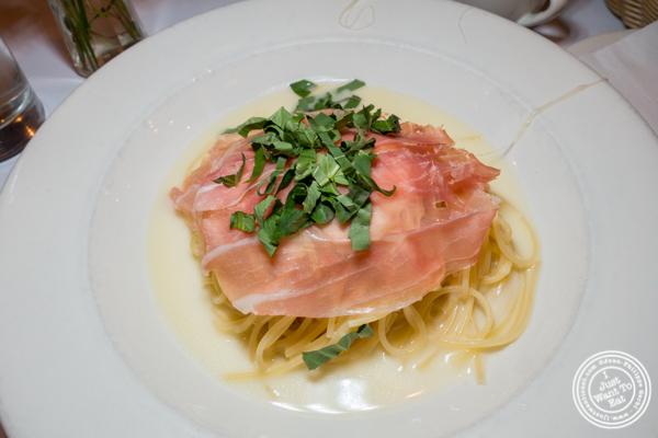 Spaghetti con prosciutto e parmigiano at Basta Pasta in Chelsea, NYC