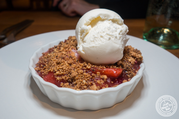 Apple cranberry crumble at The Little Beet Table in NYC, NY