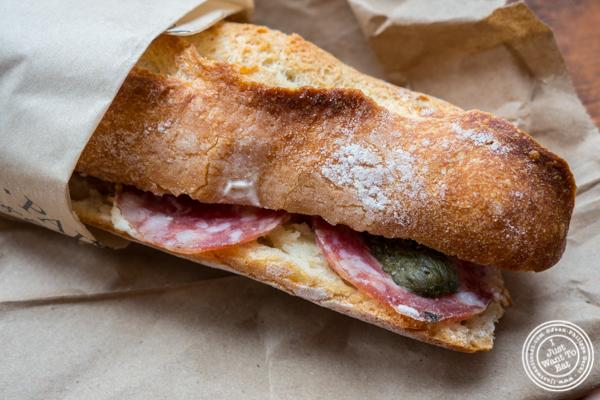 Sandwich saucisson sec et cornichons at Choc-O-Pain, Uptown Hoboken, NJ