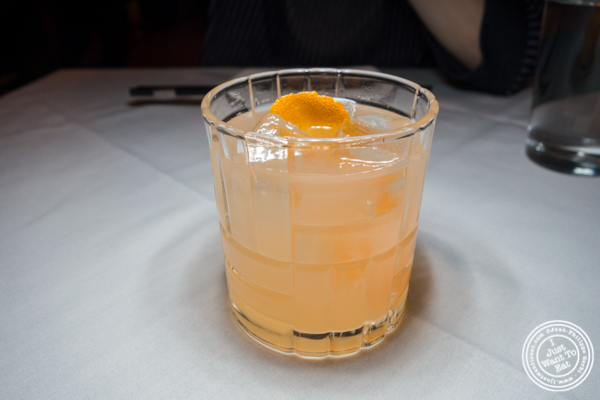 Toki Old Fashioned cocktail at Lotus Blue Dongtian Kitchen and Bar in NYC, NY