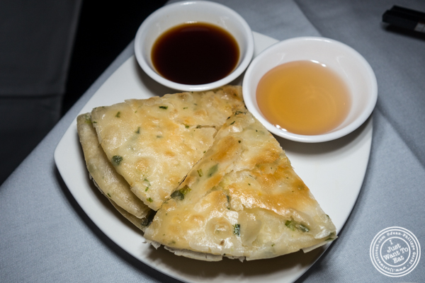 Scallion pancakes at Lotus Blue Dongtian Kitchen and Bar in NYC, NY