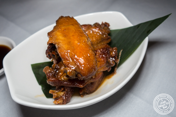 Chicken wings at Lotus Blue Dongtian Kitchen and Bar in NYC, NY